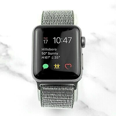 Apple Watch Series 3 38mm Space Gray Aluminium Case with Olive Loop GPS 7/10