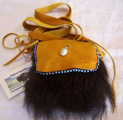 Hand Made Small Beaded Buffalo Fur Pouch Rendezvous Black Powder Mountain Man