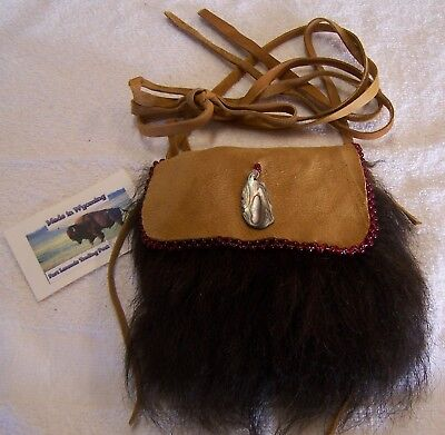 Hand Made Small Beaded Buffalo Fur Pouch Rendezvous Black Powder Mountain Man 5