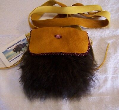 Hand Made Small Beaded Buffalo Fur Pouch Rendezvous Black Powder Mountain Man 8
