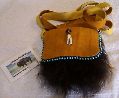 Hand Made Small Beaded Buffalo Fur Pouch Rendezvous Black Powder Mountain Man 9