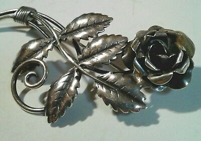 "large Art Deco sterling silver rose flower pin beautiful 12.6gm 3"" long"