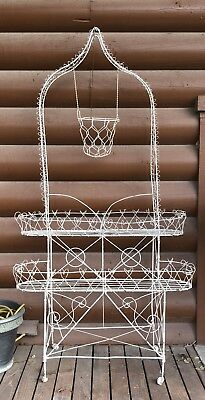 ANTIQUE GARDEN ORIGINAL VICTORIAN WIRE PLANT STAND CIRCA 1880'S (Porch)