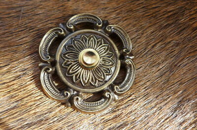 Solid Old Brass Decorative Round Push Bell Plate Project Replacement New d