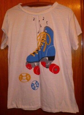 Vintage 80s Roller Skate and Vinyl Record Fitted T-Shirt Women's Sz L