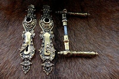 Solid brass door handle with decorative covers project replacement new set E -11