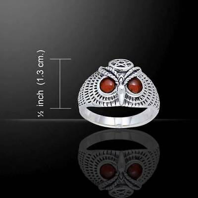 Owl with Striking Gemstone Eyes - Sterling Silver Ring