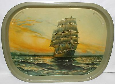 Vintage Tin Tray Ship Sailing In A Sea Litho Print Serving Tray