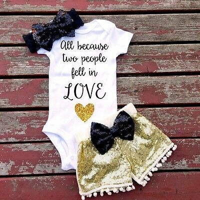 US Newborn Toddler Baby Girl Tops Romper Sequin Shorts Outfits Set Clothes Mon