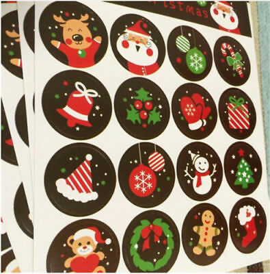 DIY 160pcs Merry Christmas Badge Paper Sticker Envelope Seal Wrapping Stickers
