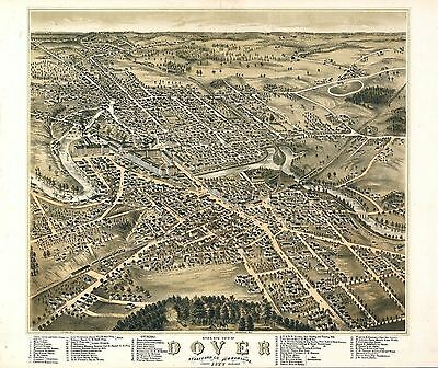 nh8 Antique old map NEW HAMPSHIRE genealogy family history DOVER 1877