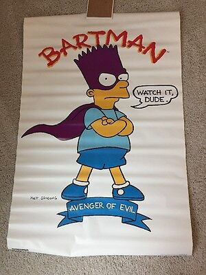 Simpsons Poster - Bartman - Avenger Of Evil - 1990 - Vintage - New Old Stock NOS