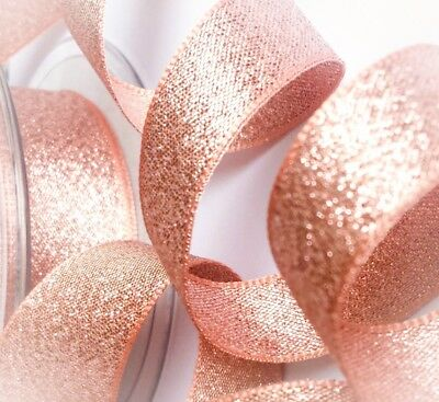 Berisfords Rose Gold Copper Sparkly Lame Metallic Glitter Ribbon 7, 15, 25, 40mm