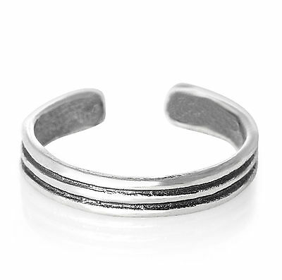 925 Sterling Silver Open Half Ring Toe Knuckle Adjustable Horizaontal Grooves
