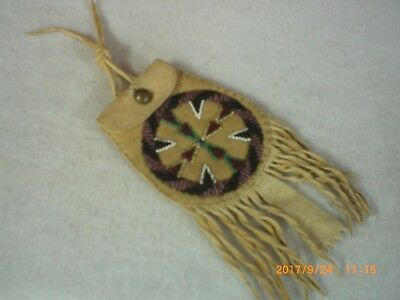 Beaded Native American Belt Bag, Old Style Apache, Smoked Deer, Indian Made