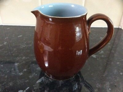 DENBY stoneware jug, holds 1 pint, brown with blue lining