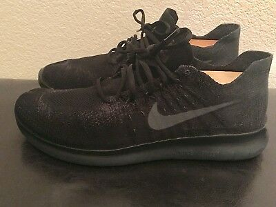 New Mens 12 Nike Free Rn Flyknit 2017 Black Anthracite Running Shoes 880843
