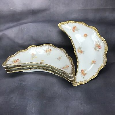 (4) Louis Strauss & Son CM France Depose Red Flowers & Gold Crescent Bone Dishes