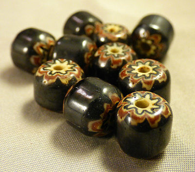 (10) Fur Trade Era Indian 6 Layer Chevron Glass Trade Beads Black Very Old