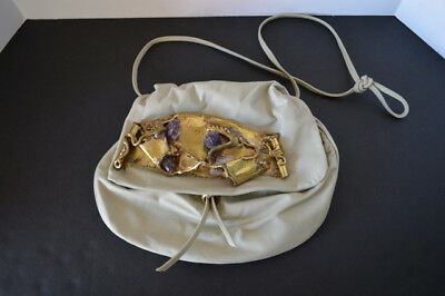 Vintage~Leather~Purse~Ivory~Amethyst~Brass~Made in Brazil~Copa Collection