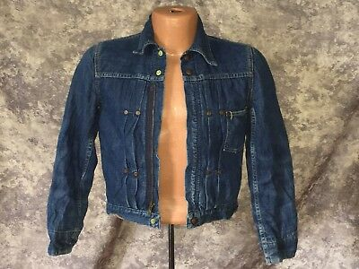Vtg 1950s Boys Sears Circle S Ranch Zip-Up Blanket Lined Denim Jacket Size 30