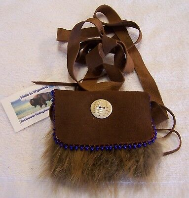 Hand Made Small Beaded Beaver Fur Pouch Rendezvous Black Powder Mountain Man 5