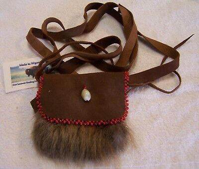 Hand Made Small Beaded Beaver Fur Pouch Rendezvous Black Powder Mountain Man 6