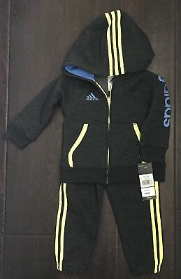 Adidas 2 pieces set Hoodie & Pants 18 Months Black heather NEW WITH TAG