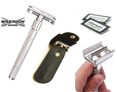 Wilkinson Butterfly Safety Razor & 10 Double Edge Blades Classic Shaving Vintage