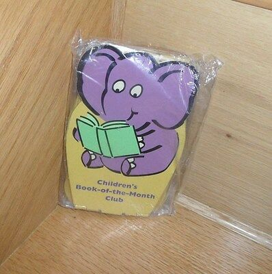NEW Vintage Childrens Book-of-the-Month bookends metal  folding  purple elephant