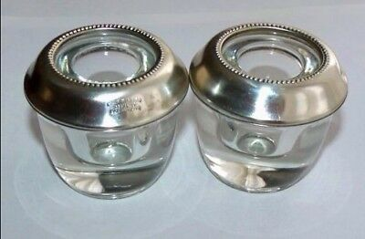 (2) Frank Whiting Sterling Silver & Glass Inkwell /holders