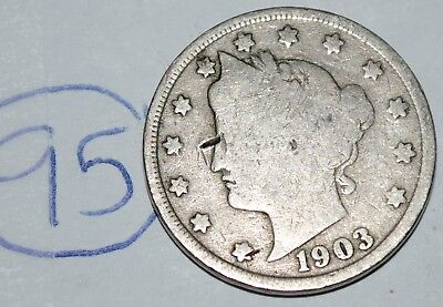 United States 1903 Liberty Head Nickel USA 5 Cents Coin Lot #95