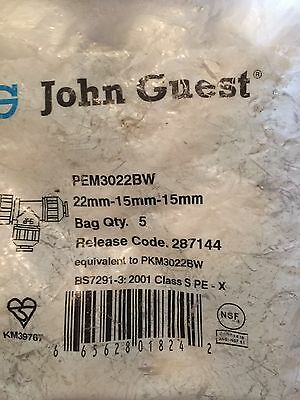 10 X John Guest Push fit Pipe Fittings 22mm-15mm-15mm