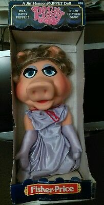 Miss piggy a jim henson hand puppet 18 doll with box 1978 fisher price