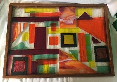 Indian Summer Beveled Stained Glass Geometric Art Multicolor Window Panel-A
