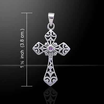 Medieval Spiritual Celtic Cross Silver Pendant - with shimmering Gemstone