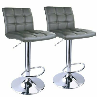 Set 2 Gray Air Lift Adjustable Stools Faux Leather Seat Swivel Chrome Bar Chair