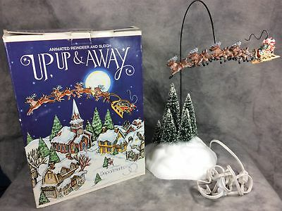 """UP UP & AWAY 17-1/4"""" Electric Animated Reindeer & Sleigh (Dept. 56, #52593)"""