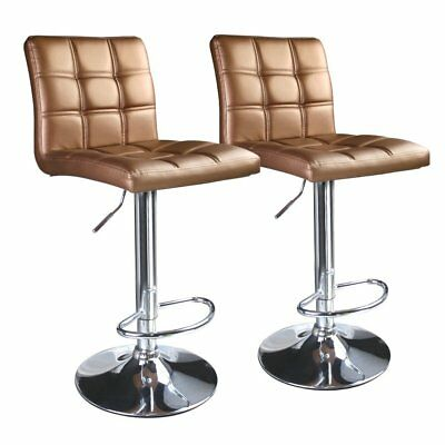 Set 2 Gold Air Lift Adjustable Stools Faux Leather Seat Swivel Chrome Bar Chair
