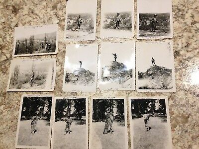 Lot of 12 vintage black and white photos of soldiers at Fort Hunter Liggett 1944