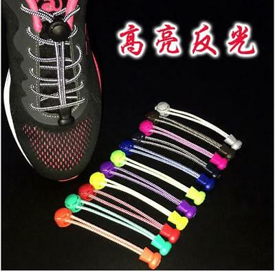 Elastic No Tie Shoelaces Sport Reflective Lock Shoe laces for Running Marathons