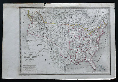 1840ca - Antique map of the United States of America - Thierry - Mexico, Texas