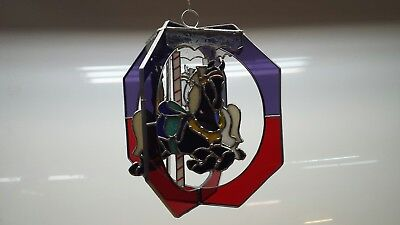 Carousel Horse  Stained Glass Artist swivel Tiffany Style red blue black white