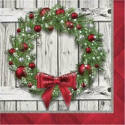 rustic christmas wreath lunch napkins 16 pack christmas winter decoration