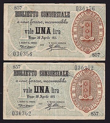 Italy 1 Lire 1874 Banknotes P-2 Pair of Notes