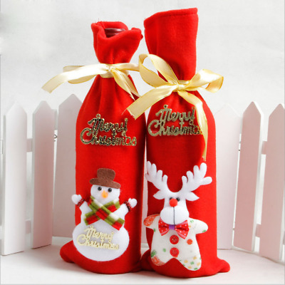 Christmas Wine Bottle Cover Bag Snowman Santa Claus Elk Dinner Party Table Decor