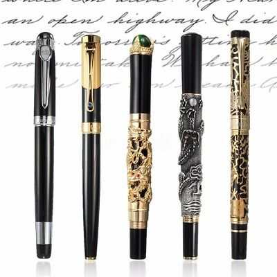 JINHAO Golden Dragon Heavy Fountain Pen Clip Medium Nib Business Men Xmas Gifts