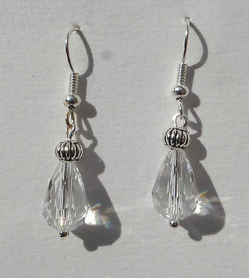 Small Faceted Clear Glass Drop Earrings With Silver Plated Detail.hook