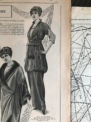 French MODE ILLUSTREE Nov 9 & Nov16,1913+sewing PATTERN sheet - Ball gowns, Doll