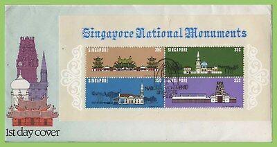 Singapore 1978 National Monuments miniature sheet on First Day Cover